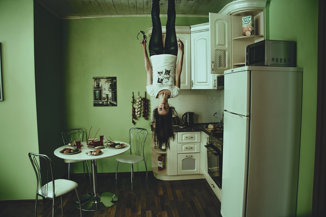 creepy upside down woman